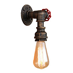 cheap Indoor Lights-Loft Mini Retro Industrial Style Wall Sconce Restaurant And Bar Metal Water Pipe Wall Lamp Painted Finish