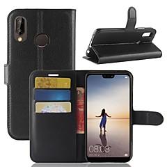 Χαμηλού Κόστους Νέες παραλαβές-tok Για Huawei P20 lite P20 Θήκη καρτών Πορτοφόλι με βάση στήριξης Ανοιγόμενη Πλήρης Θήκη Μονόχρωμο Σκληρή PU δέρμα για Huawei P20 lite