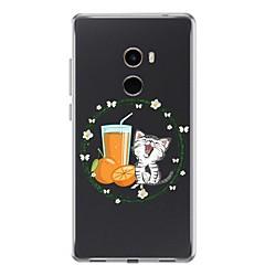 Недорогие Чехлы и кейсы для Xiaomi-Кейс для Назначение Xiaomi Mi Mix 2 Прозрачный С узором Кейс на заднюю панель Кот Мягкий ТПУ для Xiaomi Mi Mix 2