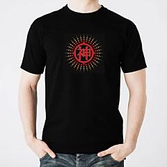preiswerte LED T-Shirts-LED-T-Shirts Beleuchtung Modisches Design Elektrolumineszenz Im Dunkeln leuchtend Geräusch aktiviert Reine Baumwolle Party Freizeit 2 AAA