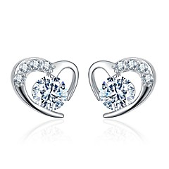 preiswerte Ohrringe-Damen Kubikzirkonia Ohrstecker - Zirkon Herz Süß, Modisch Silber / Purpur Für Alltag Verabredung