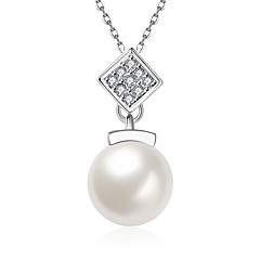 お買い得  ネックレス-女性用 キュービックジルコニア / 淡水パール ペンダントネックレス  -  真珠, ステンレス鋼, 18Kゴールド ファッション かわいい ホワイト 50 cm ネックレス ジュエリー 用途 贈り物, 日常