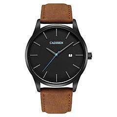 お買い得  メンズ腕時計-CADISEN 男性用 リストウォッチ クォーツ 30 m 耐水 カレンダー カジュアルウォッチ レザー バンド ハンズ ファッション ミニマリスト ブラウン - Black / Brown 2年 電池寿命