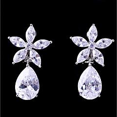 preiswerte Ohrringe-Damen Kubikzirkonia Klips - Blume Modisch, Elegant Weiß Für Hochzeit Party