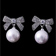 preiswerte Ohrringe-Damen Kubikzirkonia Ohrstecker - Schleife Modisch, Elegant Weiß Für Hochzeit / Verabredung