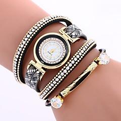 お買い得  レディース腕時計-女性用 ブレスレットウォッチ 中国 模造ダイヤモンド / カジュアルウォッチ PU バンド ボヘミアンスタイル / ファッション ブラック / レッド / ブラウン