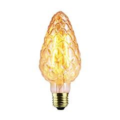billige LED-lyspærer-1pc 2W 140-220lm E26 / E27 LED-glødetrådspærer C75 2 LED Perler COB Dæmpbar Varm hvid 220-240V