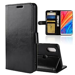 Недорогие Чехлы и кейсы для Xiaomi-Кейс для Назначение Xiaomi Xiaomi Mi Mix 2S Бумажник для карт / Кошелек / Флип Чехол Однотонный Твердый Кожа PU для Xiaomi Mi Mix 2S