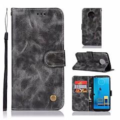 Недорогие Чехлы и кейсы для Motorola-Кейс для Назначение Motorola Moto G6 Plus Кошелек / Бумажник для карт / со стендом Чехол Однотонный Твердый Кожа PU для Moto G6 Plus