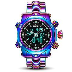 お買い得  メンズ腕時計-男性用 スポーツウォッチ 30 m 耐水 カレンダー 合金 バンド アナログ/デジタル ぜいたく ファッション 白 / パープル - ホワイト パープル