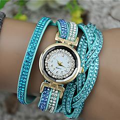 preiswerte Damenuhren-Damen Armband-Uhr Chinesisch Armbanduhren für den Alltag PU Band Glanz / Modisch Schwarz / Weiß / Blau