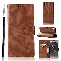 Недорогие Чехлы и кейсы для Sony-Кейс для Назначение Sony Xperia XA1 Ultra Кошелек / Бумажник для карт / со стендом Чехол Однотонный Твердый Кожа PU для Sony Xperia XA1