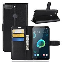 Недорогие Чехлы и кейсы для HTC-Кейс для Назначение HTC U11 / HTC Desire 12 Кошелек / Бумажник для карт / Флип Чехол Однотонный Твердый Кожа PU для HTC U11 plus / HTC