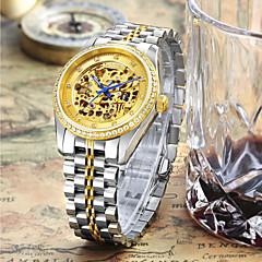preiswerte Herrenuhren-CADISEN Herrn Mechanische Uhr Japanisch 50 m Wasserdicht Transparentes Ziffernblatt Imitation Diamant Edelstahl Band Analog Luxus Skelett Weiß / Gold - Gold Gold / Weiß
