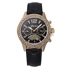 preiswerte Damenuhren-Damen Armbanduhr Chinesisch Neues Design / Chronograph / Niedlich Leder Band Luxus / Glanz Schwarz / Weiß / Blau