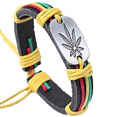 Недорогие Браслеты-Муж. Кожаные браслеты - Кожа В форме листа Классический, Мода Браслеты Кофейный / Цвет радуги Назначение Официальные Для улицы