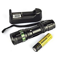 お買い得  携帯式フラッシュライト-LED懐中電灯 / ダイビング用懐中電灯 / 携帯式フラッシュライト LED 900lm 1 照明モード パータブル / プロフェッショナル / 耐久性 キャンプ / ハイキング / ケイビング / 狩猟 ブラック