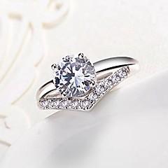 preiswerte Ringe-Kubikzirkonia Bandring - Kupfer Schneeflocke Klassisch, Modisch Verstellbar Silber Für Verlobung / Alltag