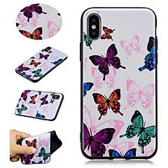 Недорогие Кейсы для iPhone 7 Plus-Кейс для Назначение Apple iPhone X / iPhone 8 Plus С узором Кейс на заднюю панель Бабочка Мягкий ТПУ для iPhone X / iPhone 8 Pluss /
