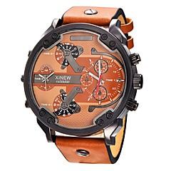 お買い得  メンズ腕時計-男性用 リストウォッチ 30 m カレンダー 2タイムゾーン クール レザー バンド ハンズ ぜいたく カジュアル ブラック / ブルー / カーキ - カーキ色 ブラック / ホワイト ブラック / ローズゴールド 1年間 電池寿命 / ステンレス / SSUO SR626SW