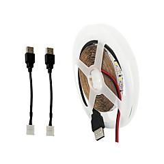 preiswerte LED Lichtstreifen-ZDM® 5m Leuchtgirlanden 300 LEDs 2 x USB-Verbindungsleitung Warmes Weiß Kühles Weiß Schneidbar USB TV-Hintergrund Selbstklebend USB