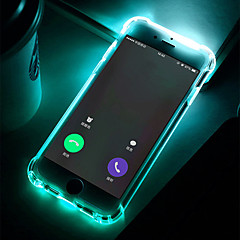 billige iPhone 5-etuier-Etui Til Apple iPhone 8 / iPhone 7 Stødsikker / Blinkende LED-lys / Transparent Bagcover Ensfarvet Blødt TPU for iPhone X / iPhone 8 Plus