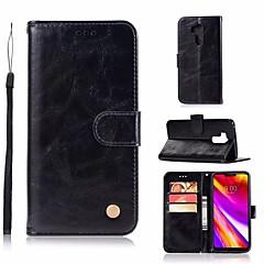 Недорогие Чехлы и кейсы для LG-Кейс для Назначение LG G7 Кошелек / Бумажник для карт / со стендом Чехол Однотонный Твердый Кожа PU для LG K7