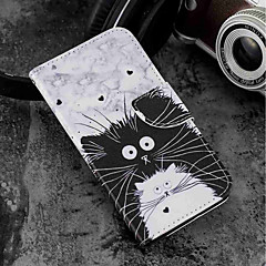 お買い得  その他のケース-ケース 用途 Wiko WIKO Sunny 2 plus ウォレット / カードホルダー / スタンド付き フルボディーケース 猫 ハード PUレザー のために Wiko View prime / Wiko Lenny 4 PLUS