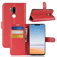 Недорогие Чехлы и кейсы для LG-Кейс для Назначение LG K10 2018 / G7 Кошелек / Бумажник для карт / Флип Чехол Однотонный Твердый Кожа PU для LG X venture / LG V30 / LG