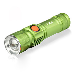 رخيصةأون -HKV LED Flashlights / مصباح LED 1000lm 3 إضاءة الوضع محمول / SOS Camping / Hiking / Caving / Everyday Use / أخضر أسود / أخضر