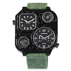 お買い得  メンズ腕時計-SHI WEI BAO 男性用 リストウォッチ 中国 コンパス / 2タイムゾーン / パンク 生地 バンド カジュアル ブラック / クローバー