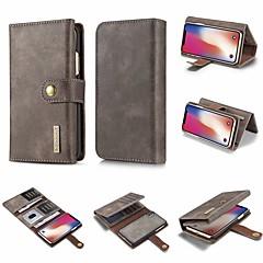 Недорогие Кейсы для iPhone X-Кейс для Назначение Apple iPhone X / iPhone 8 Кошелек / Бумажник для карт / Флип Чехол Однотонный Твердый Кожа PU для iPhone X / iPhone 8