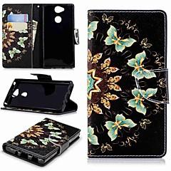 Недорогие Чехлы и кейсы для Sony-Кейс для Назначение Sony Xperia XA2 / Xperia L2 Кошелек / Бумажник для карт / со стендом Чехол Бабочка Твердый Кожа PU для Xperia XA2 /