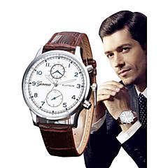 お買い得  メンズ腕時計-男性用 クォーツ リストウォッチ 中国 クロノグラフ付き レザー バンド ぜいたく / Elegant ブラック / ブラウン