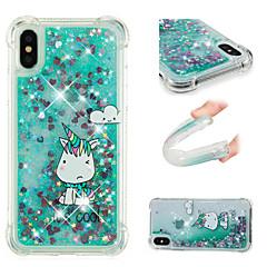 Недорогие Кейсы для iPhone 6 Plus-Кейс для Назначение Apple iPhone X / iPhone 8 Plus Защита от удара / Движущаяся жидкость / С узором Кейс на заднюю панель единорогом /