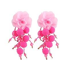 preiswerte Ohrringe-Quaste Lang Tropfen-Ohrringe - Blumen / Botanik, Blume Süß, Modisch Rot / Grün / Hellblau Für Party Arbeit