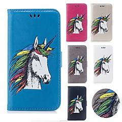 Недорогие Кейсы для iPhone X-Кейс для Назначение Apple iPhone X / iPhone 8 Бумажник для карт / Кошелек / Флип Чехол единорогом Твердый Кожа PU для iPhone X / iPhone 8