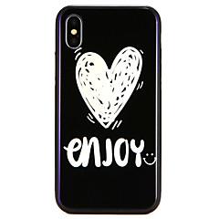 Недорогие Кейсы для iPhone 7 Plus-Кейс для Назначение Apple iPhone X / iPhone 8 С узором Кейс на заднюю панель Слова / выражения / С сердцем Твердый Закаленное стекло для iPhone X / iPhone 8 Pluss / iPhone 8