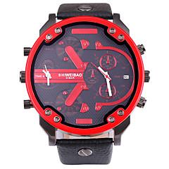 お買い得  メンズ腕時計-SHI WEI BAO 男性用 軍用腕時計 リストウォッチ クォーツ ブラック カレンダー コンパス 2タイムゾーン ハンズ カジュアル ファッション - オレンジ レッド ブルー 1年間 電池寿命 / 大きめ文字盤 / SSUO 377