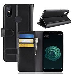 Недорогие Чехлы и кейсы для Xiaomi-Кейс для Назначение Xiaomi Mi 6X Кошелек / Бумажник для карт / со стендом Чехол Однотонный Твердый Настоящая кожа для Xiaomi Mi 6X(Mi A2)