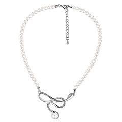 preiswerte Halsketten-Damen Einzelkette Halskette - Künstliche Perle, Strass Schleife Europäisch, Modisch, Elegant Weiß 40 cm Modische Halsketten 1pc Für Party / Abend