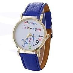 お買い得  レディース腕時計-Xu™ 女性用 ドレスウォッチ リストウォッチ クォーツ クリエイティブ カジュアルウォッチ 大きめ文字盤 PU バンド ハンズ ファッション ワードダイアル腕時計 ブラック / 白 / ブルー - レッド グリーン ブルー 1年間 電池寿命