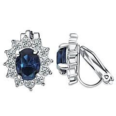 abordables Pendientes-Mujer Cristal Pendientes con clip - Chapado en Oro Flor Bohemio, Dulce Azul Para Fiesta / Regalo