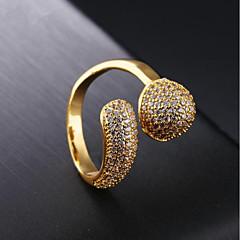お買い得  指輪-女性用 キュービックジルコニア バンドリング  -  18Kゴールド 星形 ファッション 7 / 8 ゴールド 用途 パーティー / 日常