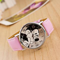 preiswerte Damenuhren-Damen damas Armbanduhr Quartz Armbanduhren für den Alltag lieblich Leder Band Analog Zeichentrick Modisch Schwarz / Weiß / Blau - Rot Rosa Hellblau