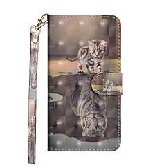 Недорогие Кейсы для iPhone 6 Plus-Кейс для Назначение Apple iPhone X / iPhone 8 Plus Кошелек / Бумажник для карт / со стендом Чехол Животное Твердый Кожа PU для iPhone X / iPhone 8 Pluss / iPhone 8
