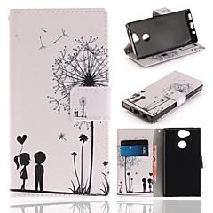 Недорогие Чехлы и кейсы для Sony-Кейс для Назначение Sony Xperia XA2 Кошелек / Бумажник для карт / со стендом Чехол одуванчик Твердый Кожа PU для Xperia XA2