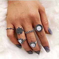 preiswerte Ringe-Damen Skulptur Ring-Set - Tropfen Retro, Europäisch, Modisch 7 Silber Für Alltag