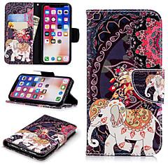 Недорогие Кейсы для iPhone 7 Plus-Кейс для Назначение Apple iPhone X / iPhone 8 Plus Кошелек / Бумажник для карт / со стендом Чехол Слон / Цветы Твердый Кожа PU для iPhone X / iPhone 8 Pluss / iPhone 8