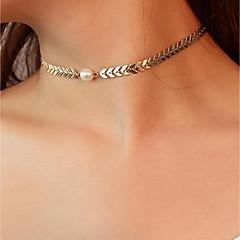preiswerte Halsketten-Damen Perle Halsketten / Ketten - Künstliche Perle Einfach, Retro, Modisch Gold, Silber 38 cm Modische Halsketten 1pc Für Party / Abend, Bar
